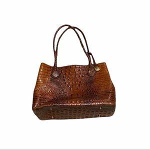 Brahmin Animal Print Crocodile Leather Shoulder Women's Bag Purse Large
